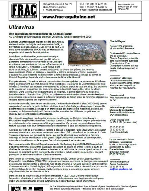 2008 communiqué de presse de l'expo de Chantal RAGUET