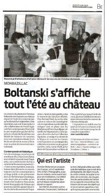 article de Sud Ouest du 25 juin 2009 Boltanski