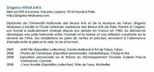 bibliographie Shigeko HIRAKAWA