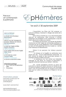 communiqué de presse EPHEMERES 2009