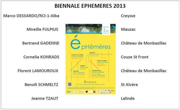 EPHEMERES 2013