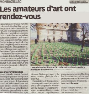 sud ouest 30 mars Sylvain BOURGET