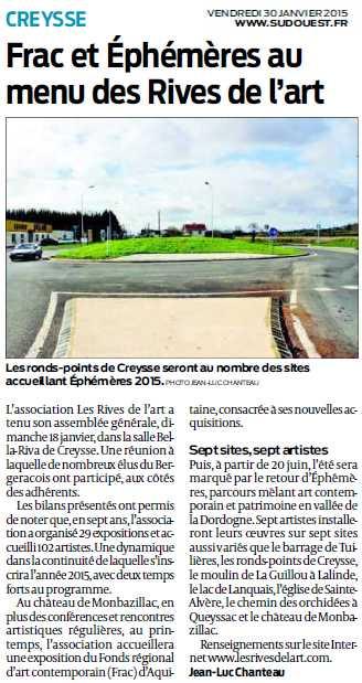 2015 janvier Article de Sud Ouest AG Rives de l'Art