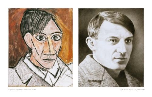 """André RAFFRAY """"autoportrait de Picasso"""", diptyque ; années 2000 ; série  """"les portraits"""""""