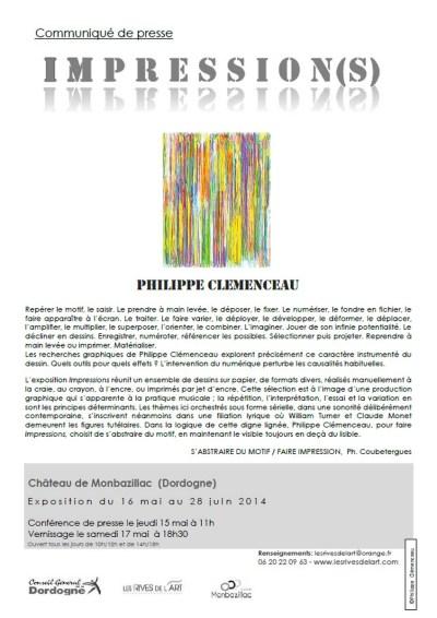 communiqué de presse de l'exposition impression s de CLEMENCEAU