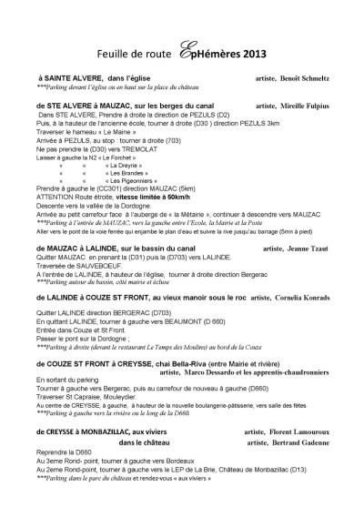 itinéraire EPHEMERES 2013
