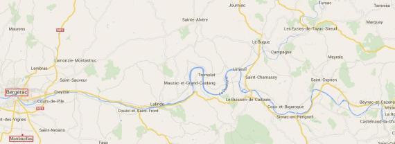 Vallée de la Dordogne, à l'est de Bergerac