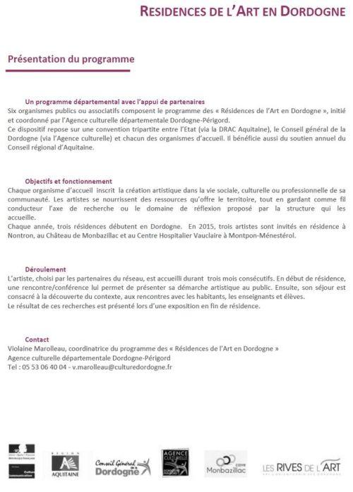 Résidences de l'Art en Dordogne Dispositif
