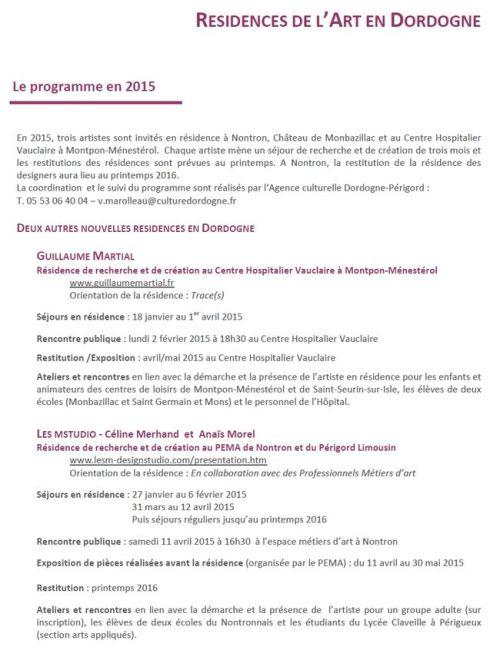 Residences de l'Art en Dordogne Programme 2015