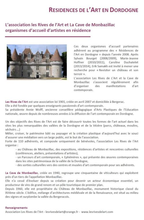 Résidences de l'Art en Dordogne les Rives de l'Art & la Cave de Monbazillac