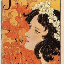 """Allemagne, Revue """"Jugend"""" (Jeunesse) ; Couverture du numéro du 4 avril 1896 par Otto Eckmann. """"Jugend"""" donnera son nom au """"Jugendstil"""" (Art Nouveau)"""