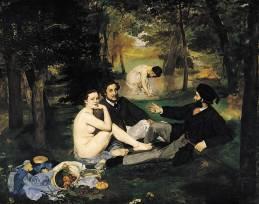 """""""Le Déjeuner sur l'herbe"""" 1863, Edouard Manet ; Musée d'Orsay, Paris. Ce tableau fut exposé à Paris en 1863 au Salon des Refusés, autorisé par Napoléon 3 à côté du Salon officiel : il fit scandale. Son grand défenseur fut Zola."""