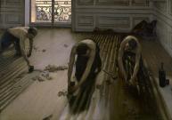"""""""Les raboteurs de parquet"""", 1875, Gustave Caillebotte ; Musée d'Orsay, Paris. Caillebotte est un peintre lié au mouvement impressionniste, de famille fortunée ce qui lui a permis d'acheter des tableaux de ses amis pour les aider à vivre et se faire connaître. Il a fait don de sa collection à l'état français à sa mort en 1894, époque où l'Impressionnisme n'est pas encore reconnu. Sur 67 œuvres, 37 seulement seront acceptées après une lutte très âpre. L'académie des Beaux-Arts proteste officiellement «offense à la dignité de notre école». Jean Léon Gérôme, sculpteur et peintre référent de la peinture académique, membre de l'Académie des Beaux-Arts, écrira dans le Journal des Artistes: «Nous sommes dans un siècle de déchéance et d'imbécillité. C'est la société entière dont le niveau s'abaisse à vue d'oeil. Pour que l'Etat ait accepté de pareilles ordures, il faut une bien grande flétrissure morale.» Aujourd'hui, ces œuvres des Impressionnistes sont considérées comme majeures dans l'histoire de l'Art."""