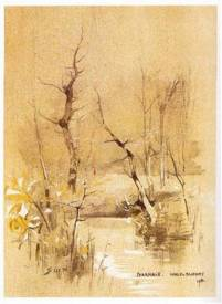 """""""Pharmacie"""" 1914, Marcel Duchamp ; Collection Arakawa, New York. En janvier 1914, avec humour, Marcel Duchamp réutilise une œuvre en lui apportant une touche de jaune et une touche de rouge, puis il la re-signe et la renomme «Pharmacie»"""