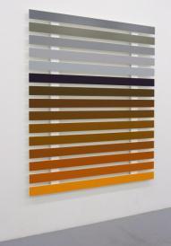 """""""Nuances 0605"""", 2005, Sébastien VONNIER ; Mélaminé peint, 173 x 205 x 5 cm Collection du Frac Aquitaine. Ici se pose la question de la représentation : l'artiste a repéré les différentes couleurs d'un paysage avec une palette de couleurs informatique et en fait une transposition abstraite, recréant ainsi un» paysage»."""