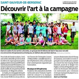 2015 Ephemeres Queyssac Mediation Ecole de St Sauveur