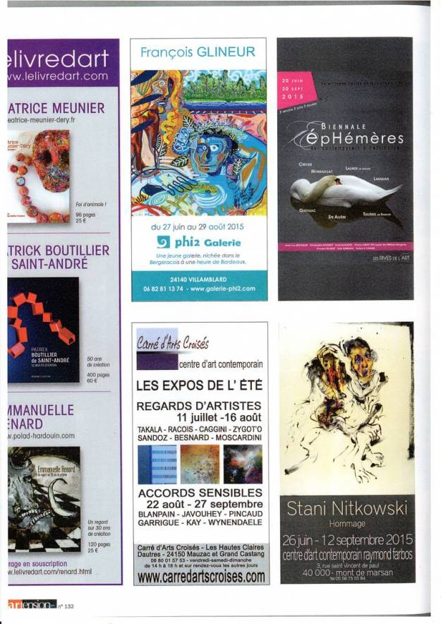 2015 Ephemeres dans Magazine Artension 132