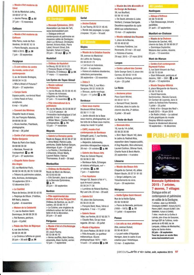 2015 Ephemeres Parcours des Arts 43 Magazine juillet aout