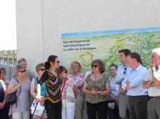 Victoria Klotz ; Annie Wolff, présidente des Rives de l'Art ; M. Gandrau, responsable sécurité au Barrage de Tuilières ; M. Lascaux, directeur du site EDF de Tuilières
