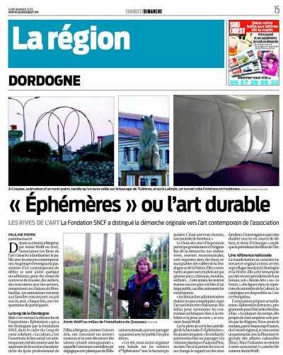 Biennale Ephémères, article Sud Ouest Dimanche du 06 12 2015
