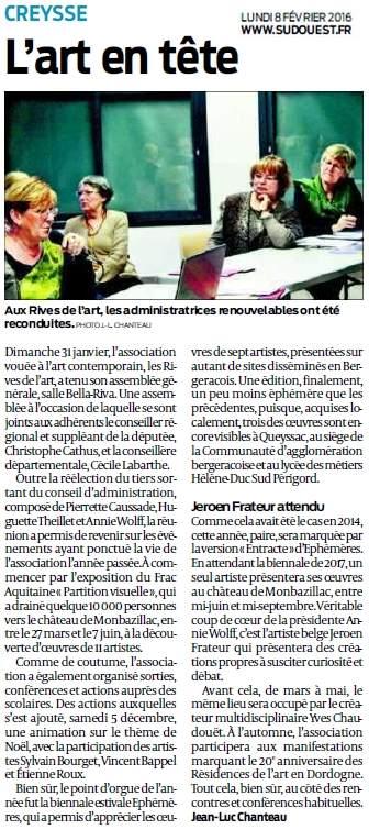 Association Les Rives de l'Art Assemblée générale 2016 ; article journal Sud Ouest du 8 février 2016
