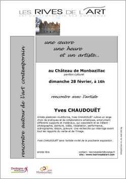 """""""Une oeuvre, une heure, un artiste"""" : rencontre avec Yves CHAUDOUËT, 28 février 2016"""