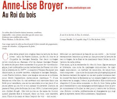 """expo """"Au roi du bois"""" Anne-Lise BROYER texte extrait du Dossier de presse Agence Révélateur, 26e ITINÉRAIRES DES PHOTOGRAPHES VOYAGEURS BORDEAUX 2016"""