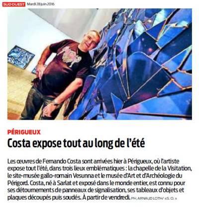 Fernando COSTA expose ses oeuvres à Périgueux à partir du 1er juillet 2016. A voir à Vesunna, au MAAP, à la Visitation