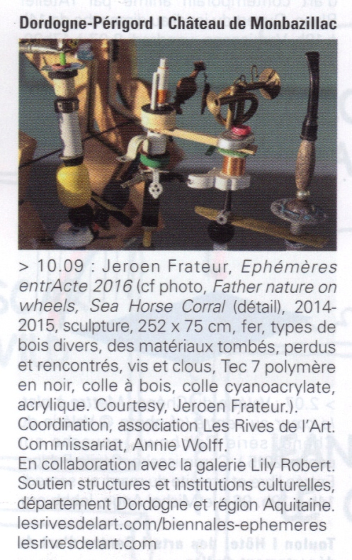 2016 ART PRESS agenda EPHEMERES ENTRACTE 2016 FRATEUR à Monbazillac