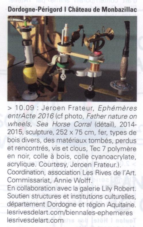 2016 ART PRESS agenda EPHEMERES ENTRACTE 2016 FRATEUR à Monbazillac