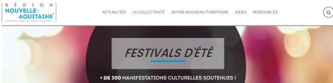 2016 La nouvelle REGION AQUITAINE manifestations FESTIVALS D' ETE