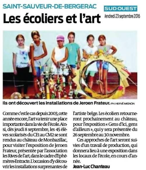 Visite des écoliers de St Sauveur à l'exposition Jeroen Frateur ; article Sud Ouest 23 sept 2016