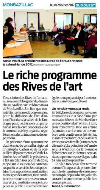 2017 Les Rives de l'Art : article Sud Ouest 2 février