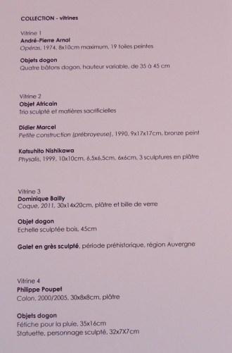 Exposition Dominique MARCHES, 2017 ; Liste des oeuvres dans les vitrines
